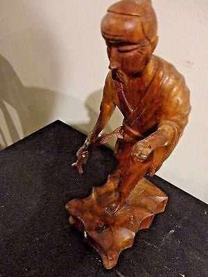 Vintage Walnut Hand Carved Wood Fisher Man Figurine Statue 8""
