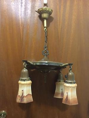 Antique brass drop shade chandelier with sail boat satin glass shades