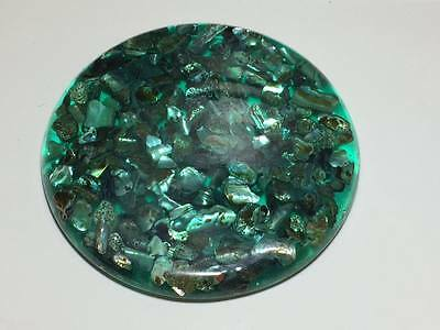 Vintage turquoise abalone shell lucite trivet