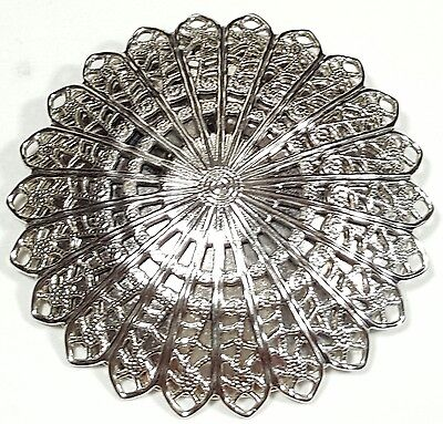 Vintage Jewelry Scarf Brooch Silver Tone Metal Filigree Flower Classy Unique#...