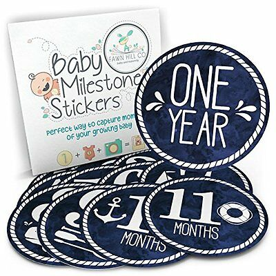 Fawn Hill Co Monthly Milestone Baby Outfit Stickers Gender Neutral Nautical