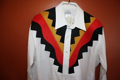 Silver Mesa Western Red, Gold & Black Suede Tuxedo Style Shirt Men's Medium NWT