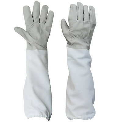 2 X Beekeeping Protective Gloves with Vented Long Sleeves-Grey and White LW PBX