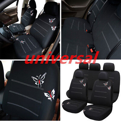 Embroidery Car Seat Covers Butterfly Pattern Front & Rear Cushion Protector Kit