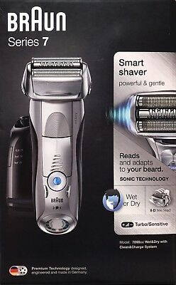 Braun Series 7 Wet & Dry Smart Men's Shaver 7898cc Grey + Clean & Charge Station