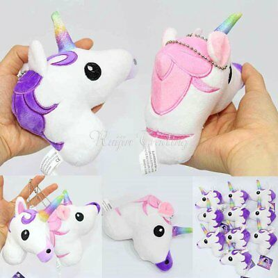 13cm Unicorn Pendant Keychain Rainbow Horse Plush Toys Handbag Backpack Decor