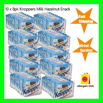 10 x 8pk Knoppers Milk Hazelnut Snack Crispy Wafers Made in Germany eBargainClub