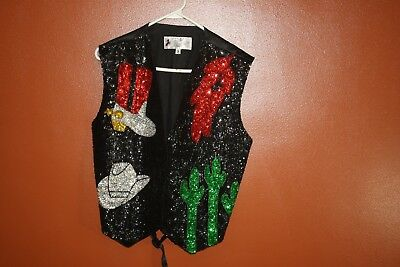 JC 001 USA Western Sequined Vest Cowboy Hat Boots Chili Peppers Cactus Mens L 36
