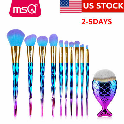 US 10Pcs Powder Makeup Brush Set Contour Face Eye Shadow Lip Kabuki Brushes Tool