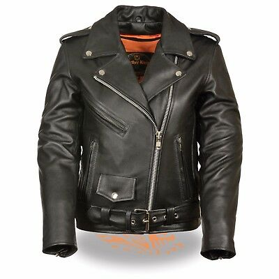 Milwaukee Leather Women's Classic Police Style Motorcycle Jacket  **LKL2701 BLK