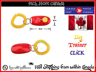 Dog Pet Click Clicker Training Obedience Agility Trainer Aid Wrist Strap WP