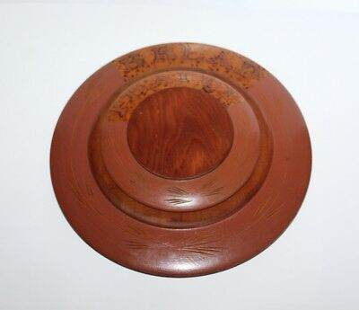 Vintage Wooden Set Tea Pot Stand And Bread Plate With Pokerwork
