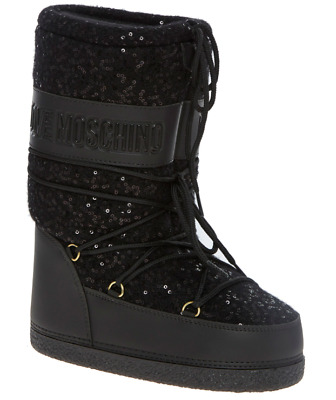 LOVE MOSCHINO Black Sequin Embellished Snow Boots - size UK 6 / EU 39