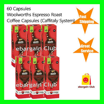 60 Capsules Woolworths Espresso Roast Coffee Capsule Pod Caffitaly System eBC