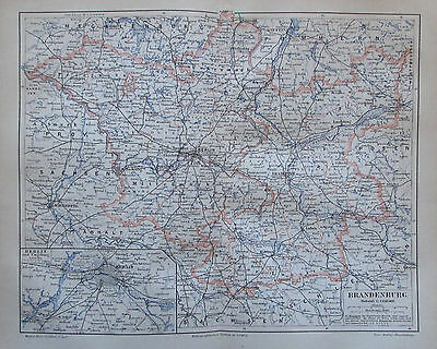 1888 BRANDENBURG historische Landkarte Lithographie antique map