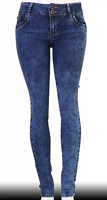 High Waist  Stretch Push-Up Colombian Style Skinny Jeans in DK.blue Q534