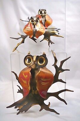 Vintage Metal Wall Hanging Grouping Of 60's OWLS 2 Pieces & total of 3 OWLS CUTE