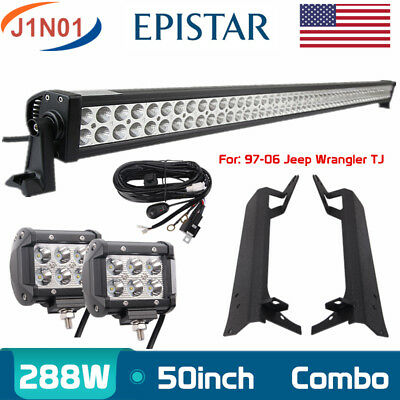 """For Jeep Wrangler TJ 50"""" 288W+18W LED Light Bar+Upper Roof Mounting Bracket+Wire"""