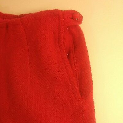 Vintage Baby Toddler Winter Fleece Pants Red Heavy Wool 1950s Large Doll Size