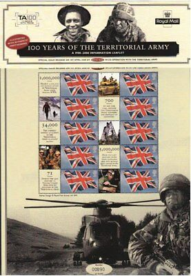 GB stamp sheet - Territorial Army 100 Years - Limited Edition Royal Mail mint
