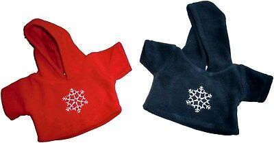 """Teddy Bear Clothes fits 10-12"""" Teddies Red Blue Fleece Hooded Snowflake Top"""