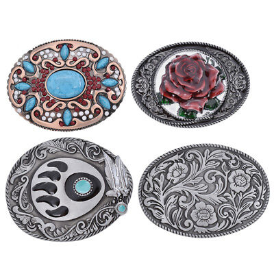 Vintage Floral Totem Belt Buckle Turquoise Leather Pattern Series Accessories