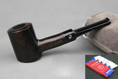 10 Filters Handmade Straight Ebony Wood Tobacco Smoking Pipe Pouch Stand