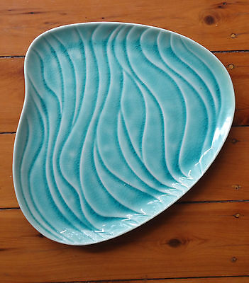 Pretty PartyLite Candle Holder Base Plate *Freeform Shape Teal Green Waves