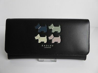 Radley Quad Dog Large Black Leather Purse BNWT  RRP £75 with Dust Bag