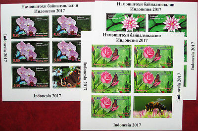 Tajikistan  2017 Flowers Rose Orchid Lotos Insects Butterflies 3 M/S imperf  MNH