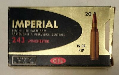 """Vintage Canadian""""cil Imperial 243 Winchester Centerfire"""" Cardboard Box-Empty-75"""