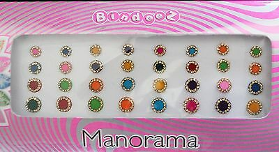 Round Bindi Multicolour Gold Stoned Pack Different Sizes