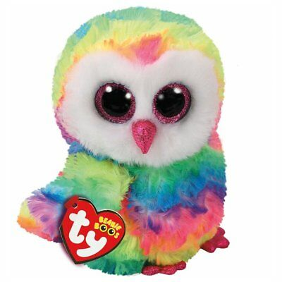 "Owen Multicoloured Owl Plush Soft Toy V2, TY Beanie Boo's Collection 6"" (15cm)"