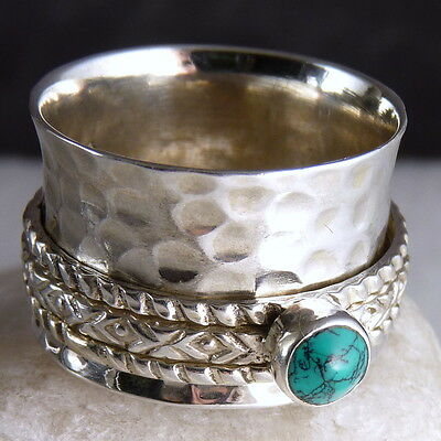 3-SPIN Hammered Spinner US 9.5 SILVERSARI Fidget Ring Solid 925 Silver TURQUOISE