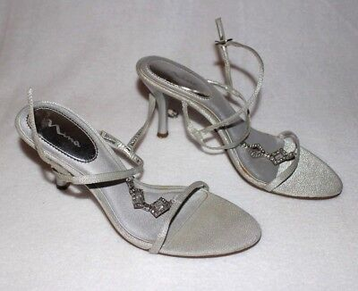 304a6b28102 Nina Women s Shoes Silver Strappy Low Heels with Crystal Embellishment Size  7.5