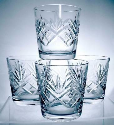 Four Quality Crystal Cut Glass Whisky Glasses Perfect For The Christmas Party
