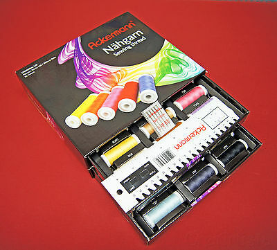 Ackermann Nähgarnbox mit 36 Qualitätsgarnrollen plus Bonus Kit ~ Black or White