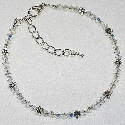 AB Swarovski Crystal Elements Daisy Chain Flower Wedding Ankle Bracelet Anklet
