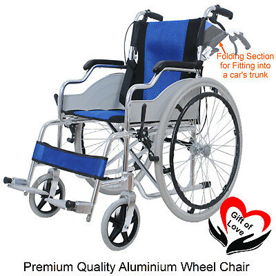 12kg PORTABLE LIGHTWEIGHT FULL ALUMINIUM FOLDING WHEELCHAIR MANUAL SELF-PROPEL