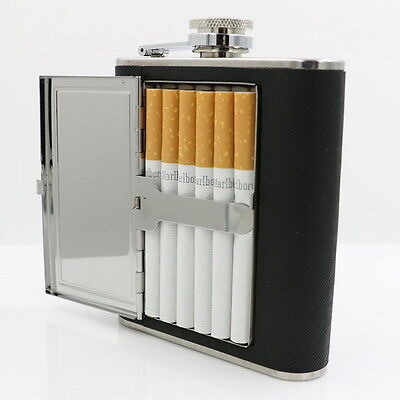 Portable Liquor Wine Stainless Steel Alcohol Flagon Hip Flask+Cigarette Case XT