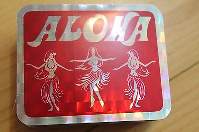 ALOHA - Hula Dancer Tiki HAWAII - Surfing RED 3x4in. Prism Sticker - LOT OF 100