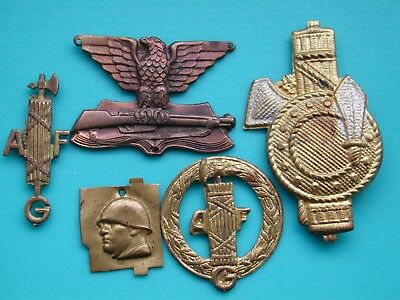 Italian Fascist Lot Badges Patches P.n.f. A.g.f. Duce Mussolini F.g.c. & G.u.f.