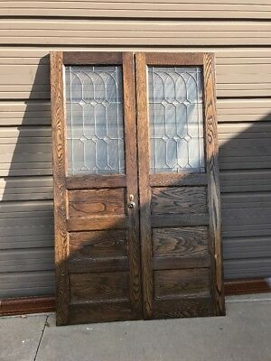 An 6Match Pair Antique Refinished Leaded Glass Passage Doors 51 X 81.5 X 1.25