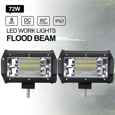 5'' Inch 72W LED Work Light Bar Flood Driving Lamp Jeep Truck Boat Offroad Cool