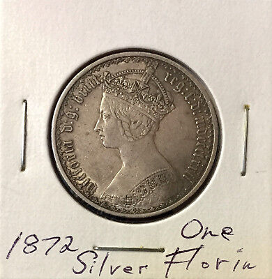 "1872  British Silver ""Gothic "" Florin ~ *Choice AU* ~ Boldly Detailed Coin"