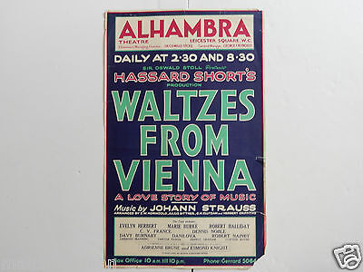 Vintage Poster Waltzes From Vienna Alhambra Theatre Leicester Square  C. 1931 2