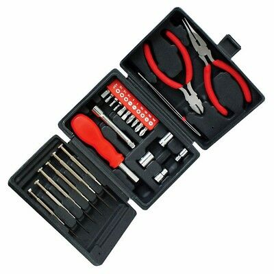 25 Pc Mini Tool Kit Electrical Precision Screwdrivers Pliers Socket Set In Case