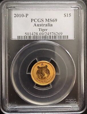 2010 PCGS MS69 Perth Mint 1/10 oz Gold Lunar Tiger Coin