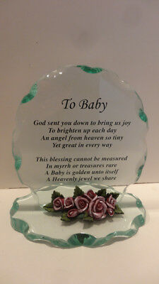 Etched Glass Baby Birth Announcement Verse, ONLY ONE ON EBAY NEW.