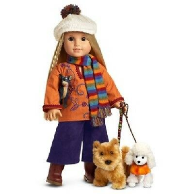 American Girl Julie's Dog Walking Outfit & Pets Scarf and Hat Complete Set NEW!!